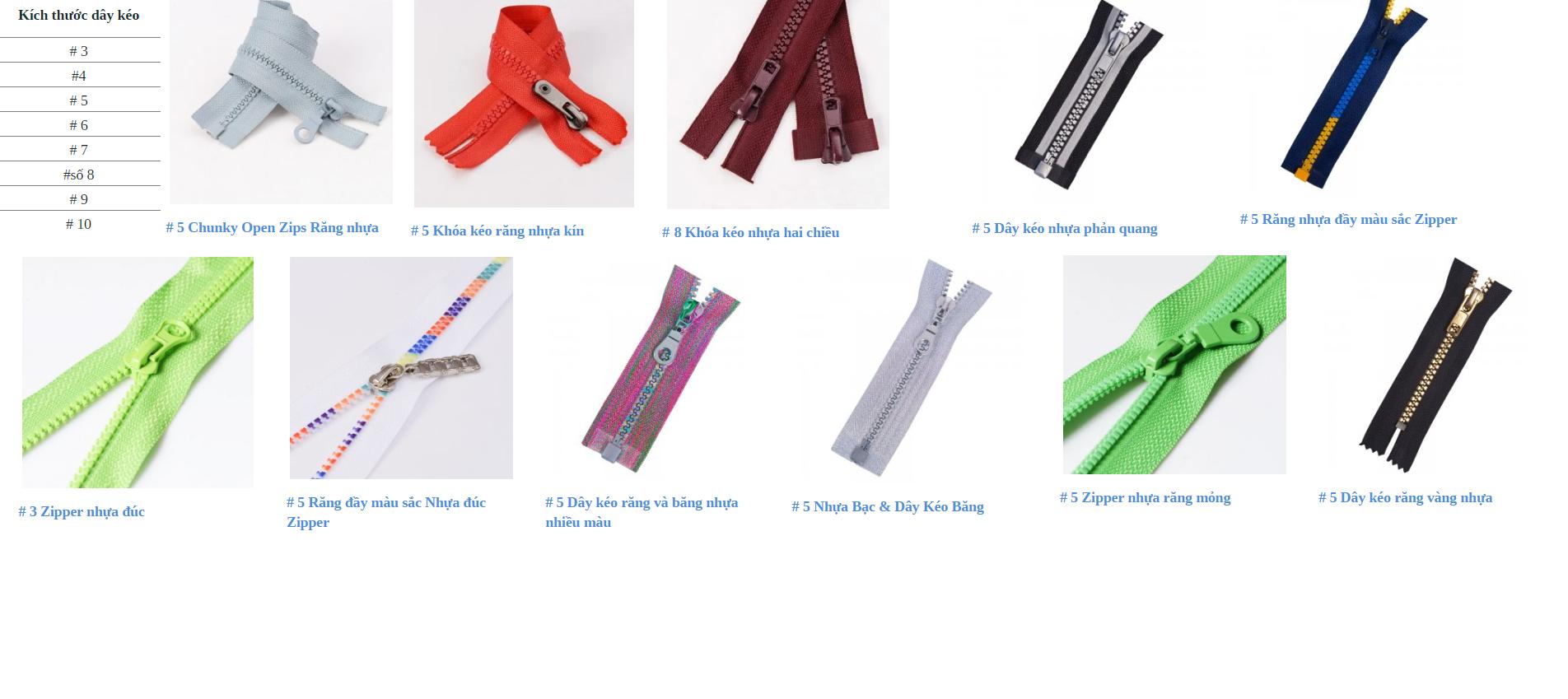 Dây khóa kéo răng nhựa